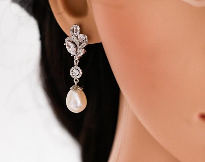 silver or rose gold, freshwater pearl drop earrings, or Swarovski pearl, crystal leaf flower, cream,  mother  bride, Prom earrings