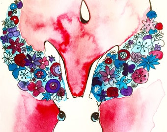 Art Print - Bunny with Flowers