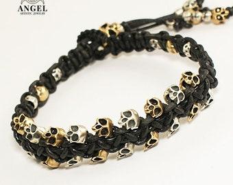 SAUVAGE - Skull Bracelet - Rocker Jewelry, 100% Sterling Silver & Bronze Bracelet -  Men Jewelry