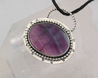 Silver Stars Purple Fluorite Pendant Space Jewelry Natural Gemstone Sterling Silver