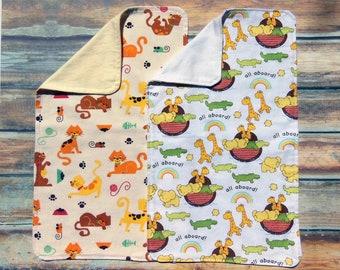 Burp Cloths- Noah's Ark Burp Cloths - Cats and Mouse Burp Cloth - Flannel Burp Cloths - Baby Shower Gift - Cotton Burp Cloths - Burp Rags -
