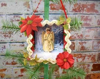 Angel Ornament, Christmas Ornament, Angel, Paper Ornament, Shadow Box, Shadowbox, Diorama, Christmas Decoration, Victorian, Hanging Ornament