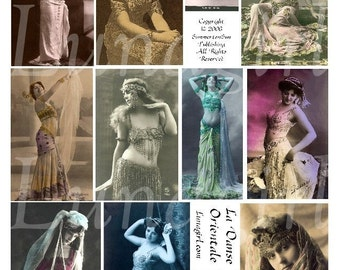 BELLYDANCE collage sheet DOWNLOAD women dancers vintage photos images digital ephemera altered art French postcards exotic ladies showgirls