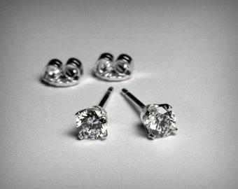 Diamond Earrings, Genuine Diamond Stud Earrings, 14K White Gold, Natural Diamond Earrings, 14K Diamond Earring, Solid 14K Gold, Post Earring