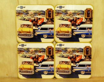 Set of 4 coasters - 95mm Square - 1957 Chevrolet Nomad Wagon
