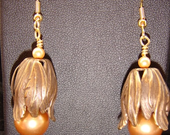 Large Champagne Pearls in Antique Brass Tulips Pierced Earrings
