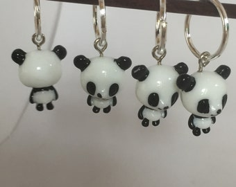4 stitch markers for knitting crochet PANDA 14 mm rings