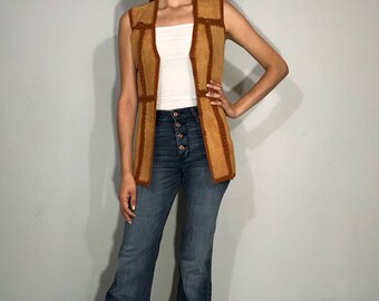 1970s suede patch vest