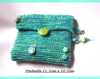 Pouch wallet card holder wool tone blue green