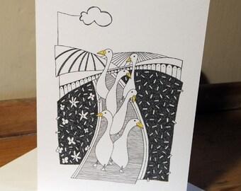 Quirky Runner Ducks Greeting Card from an original art Illustration ART030