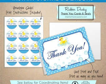 """Printable Rubber Ducky Baby Shower Thank You's! Easy to edit Microsoft Word template. Set includes printable 1"""" seals. DIY , Print at home!"""