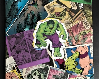 Custom Comic Collage Art on Canvas - Hulk