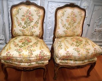 Pair of Louis XV Style Boudoir Chairs      Sku: F1001