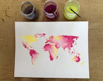 World map with all countries colour watercolors