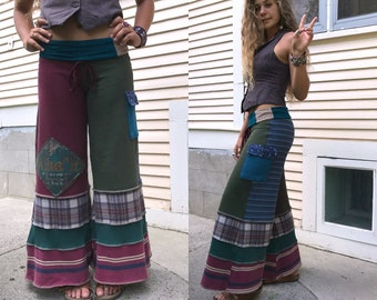 CUSTOM make Request,Eco Gaucho pants, LONG length, patchwork pants, wide leg pants, upcycled clothing, hippy pants, cargo pants, Zasra