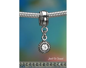 Tiny Sterling Silver Sunflower Charm or European Style Charm Bracelet