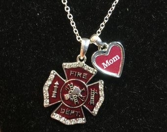 Fire Department Mom Rhinestone Charm Necklace