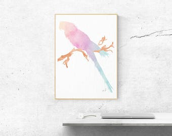 Parrot Art, Watercolor Print, Nursery Watercolor, Pastel Wall Art, Parrot Painting, Poster Tropical Bird, Wall Art Decor, Baby Shower Gift