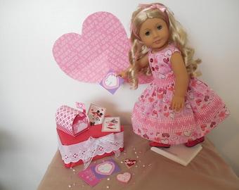 "VALENTINE Dress for the 18 inch doll like American Girl®; ""Love Ya"" Valentine Dress; Lovingly Handmade in the USA."