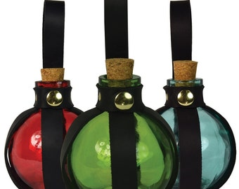 Round Glass Bottle with Holder - 5 Colors Available - #DK1028