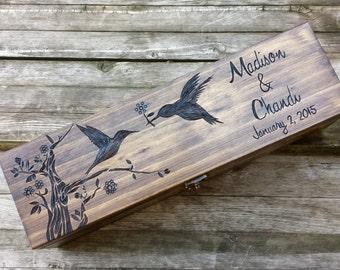 Custom Rustic Wedding Wine Box, First Fight Box, Memory Box, Time Capsule for Wedding Day, Anniversary gift, wine box ceremony, hummingbirds