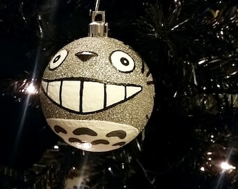 Ready to Ship! My Neighbor Totoro Inspired Miyazaki Studio Ghibli Anime Shatterproof Hand-Painted Christmas Ornament!