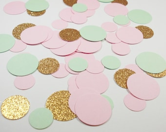 Party Confetti, Mint Green Pink & Gold Glitter Circles,  Party Decoration,  100 Ct.