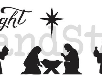 """Nativity STENCIL 4 sizes 6""""x24""""--12""""x36"""" for Painting Christmas Signs Walls Pillows Canvas Holiday Crafts O Holy Night"""