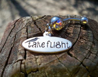 Take Flight belly button ring, belly jewelry