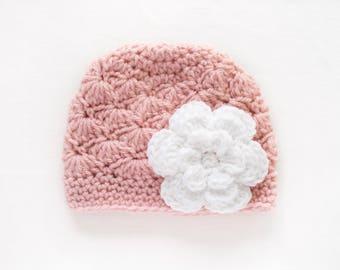 Baby Girl Hat / Crochet Girls Hat / Newborn Girl Hat / Baby Shower Gift Girl / Girls Beanie / Toddler Girl Hat / Girls Winter Hat