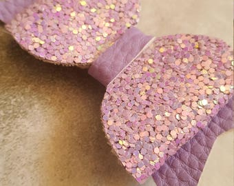 Small lilac pale purple glitter and faux leather hair bow clip