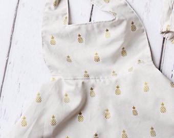 Hawaiian Gold Pineapple Dress, Toddler Pineapple Dress, Pineapple Dress, Girls Dress, Girls Tropical Summer Dress, Pineapple Hawaiian