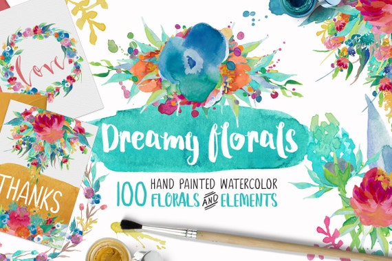 Dreamy Florals Watercolor Clipart Bundle - Hand Painted flowers, leaves, wreaths, Stickers, Planner Printable