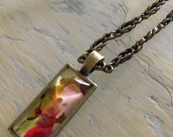 Custom alcohol ink pendant necklace