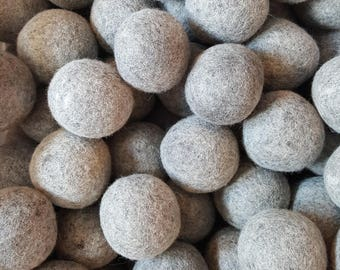 Wool Dryer Balls - 3 Large Natural Grey Wool Dryer Balls - Dryer Ball Set - Wool felt Balls - Great For Cloth Diapers - Felted Dryer Balls