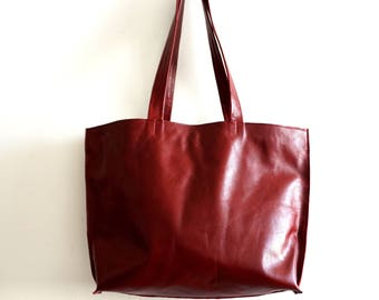 Red Leather tote bag - Shoulder Bag -Every day leather bag - Women bag