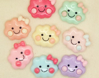 15pcs Mixed colors DIY Smile clouds  flatback Kawaii  Decoden Resin cabochon