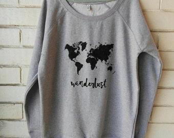 Wanderlust world map woman ORGANIC sweatshirt. Hand-painted. Earth Positive®. Eco friendly.