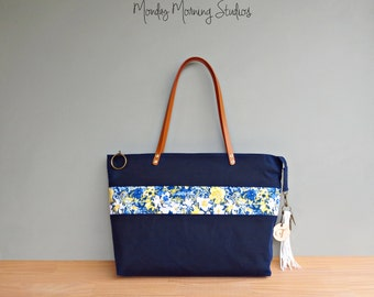 Navy Blue Waxed Canvas Zipper Tote with Floral Accent, Personalized Tote Bag with Leather Strap, Yellow and Blue Flower Tote, Initial Tassel