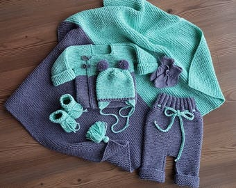 Light mint and dark grey Soft Hand knitted Newborn Outfit set with Jacket Hat Socks Trousers Blanket is perfect Baby set and gift
