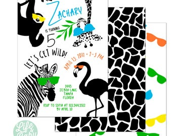 Party Animal Invitation | Wild One Invitation | Zoo Birthday Invitation | Jungle Birthday Invitation-  5x7 with reverse side