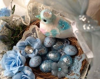 Easter Sale - Large Blue Altered Peat Pot Celebrating Spring/Easter