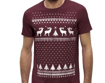 Men's Organic Cotton Reindeer Christmas T-shirt - Alternative to the Traditional Christmas Jumper - Burgundy