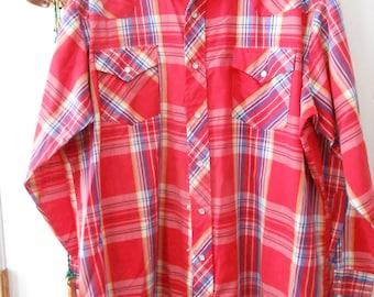 vintage Corral West Ranchwear shirt Lg.  17 1/2 -34  red plaid