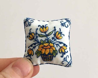 Miniature pillow.  Hand embroidered
