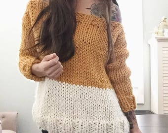 Chunky Color Block Sweater || Off the Shoulder Sweater || Knit Jumper
