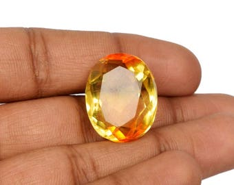 Top Quality Alexandrite Orange to Yellow Color 37.40 Ct. 23 x 18 mm Finest Oval Cut June Birthstone Brazilian Loose Gemstone AN-66