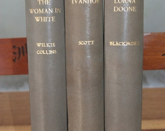 3 x Leather Bound 1936 Edition of Classic Victorian Novels: Ivanhoe, Lorna Doone and The Woman in White