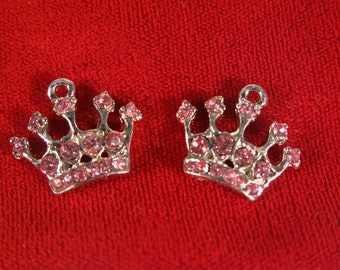 """5pc """"princess crown"""" charms in antique style silver (BC480)"""