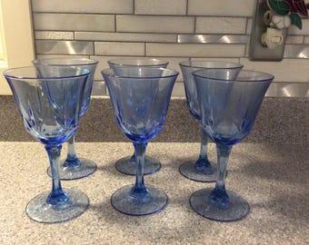 Avon American Blue Fostoria Stem Glasses set of 10.
